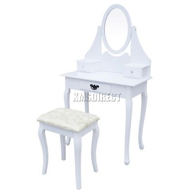 FoxHunter Makeup Dressing Table Set With Stool 3 Drawer Mirror Jewelry Desk Wood