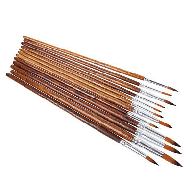 12Pcs Nylon Hair Round Pointed Acrylic Watercolor Tip Artists Paint Brushes Set