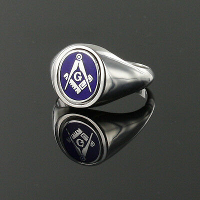 Solid Silver Hallmarked Square and Compass Reversible Swivel Head Masonic Ring