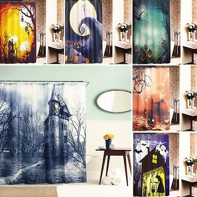 Halloween Xmas Cortina de Ducha Baño Impermeable 12 Ganchos Shower Curtain UK
