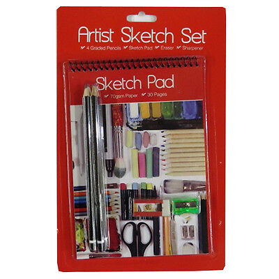 Artists Sketching Kit - 4 Graded Pencils, Eraser, Sharpener, A5 Sketch Notepad