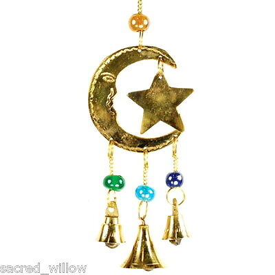 Three Bell Star and Moon Wind Chime Windchime Feng Shui Bell Sun Catcher