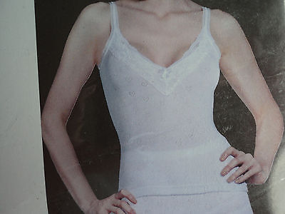 Ladies white thermal french neck spencer (vest) sizes 10-12 and 14-16