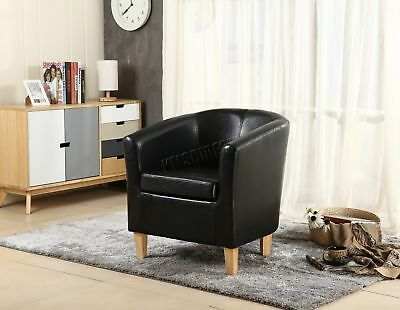 FoxHunter Black Faux Leather Tub Chair Armchair Dining Room Lounge Furniture New