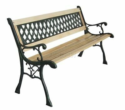 Outdoor Wooden 3 Seater Cross Lattice Garden Bench with Cast Iron Legs Park Seat