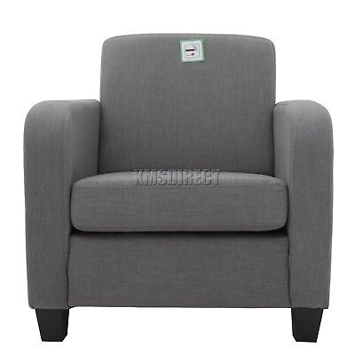 FoxHunter Linen Fabric Tub Chair Armchair Dining Living Room Lounge Office Grey