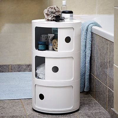 3 Drawer White/black Bedside Unit Cabinet Nightstand Kartell Style Componibili