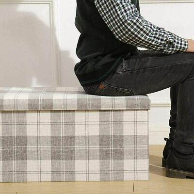 Large Ottoman Folding Stool Fur Lidded Seat Chest Foldable Storage Box Foot