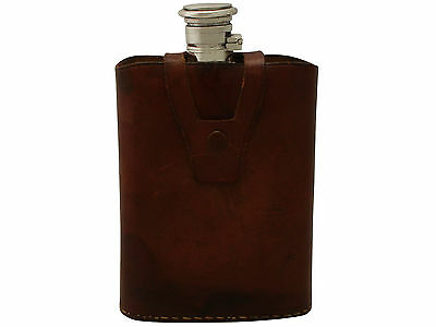 Antique Indian Silver Hip Flask with Leather Case, Circa 1910