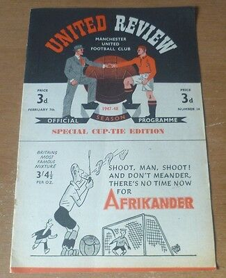 Manchester United (Winners) v Charlton A., 1947/48 - FA Cup 5th Round Programme.