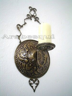 BR200 Unique Antique Style Brass Candle Holder Wall Sconce