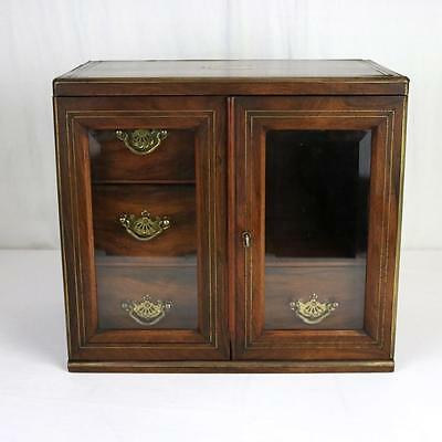 Antique Rosewood Jewelry Cabinet, Box, Brass Mounted Inlaid English? Glass Doors