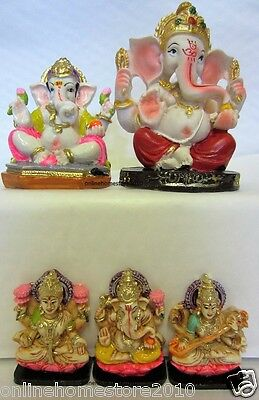 BRANd NEW HINDU DEITY 3 DIFFERENT GOD & GODDESS COLOUR MURTI STATUE IN RESINS