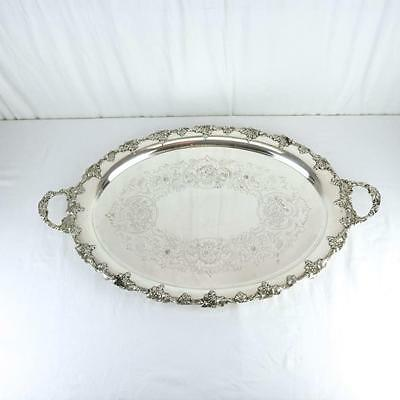 """31"""" Large Antique Sheffield Oval Silver Plate Footed Tray Grape Border Quality"""