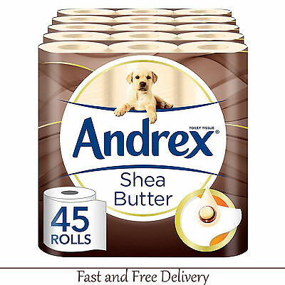 Toilet Paper Multi-Pack Andrex Shea Butter 45 Rolls Tissue Paper Luxury Soft