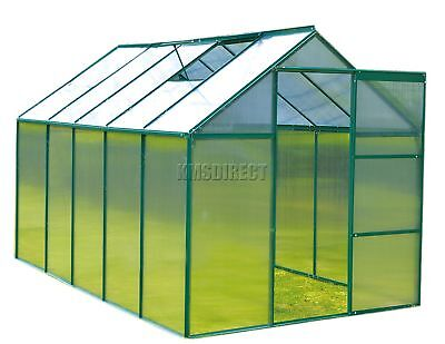 FoxHunter 10x6FT Green Polycarbonate Greenhouse Aluminium Free Base Slide Door