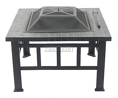 FoxHunter Garden Steel Fire Pit Firepit Brazier Square Patio Heater Stove FP-06