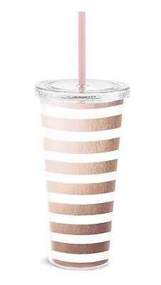 Rose Gold Stripes Tumbler cold drinks pink straw cup Graphique women girls