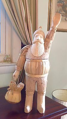"""19.5"""" Hand Carved Wood, Straw, & Cork Santa Claus Numbered 0494 Philippines"""
