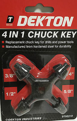 """4 in 1 Universal DRILL CHUCK KEY Sizes -1/4"""" 3/8"""" 1/2"""" 5/8""""  4 WAY UNIVERSAL FIT"""