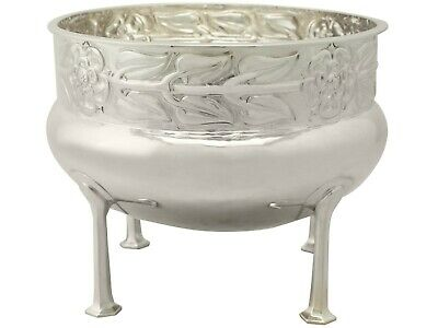 Antique Sterling Silver Jardiniere / Bowl by A E Jones, Arts and Crafts Style