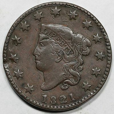 1821 N-2 Matron or Coronet Head Large Cent Coin 1c