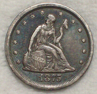 1875 S 20 Twenty Cent SILVER XF Detailing *RARE Proof Dies* BF-1 Variety R.3