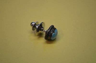 Unusual TURQUOISE & Sterling Silver Men's Southwestern Dress Tie Tack Pin *