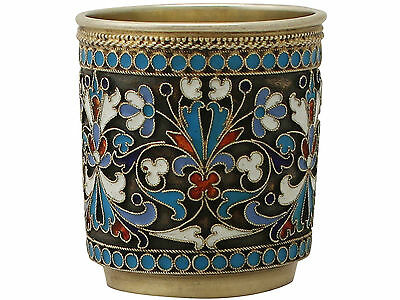 Antique Russian Silver Gilt & Polychrome Cloisonné Enamel Vodka Cup/Beaker, 1895