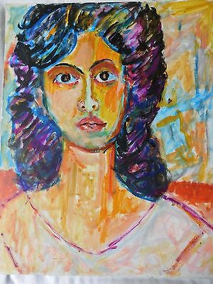Brown Eyed Woman - Vintage Bold Colorist Expressionist Acrylic on Board Painting