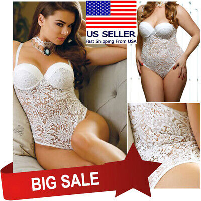 Sheer Bridal White Thong Teddy Lace Wire Bra Top Boudoir Bodysuit Lingerie S-5XL