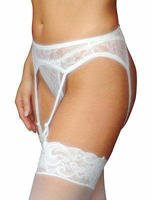 3pc Lace Garter Belt with Matching Thong and Sheer Thigh High Stocking Set