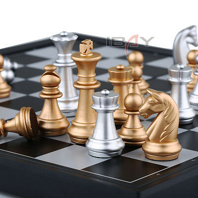Premiun Quality Magnetic Travel Game Silver & Gold Rosewood Board Chess Set