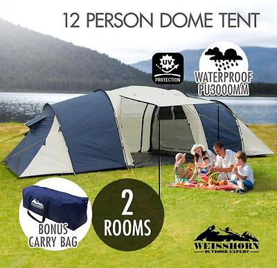 12 Person Family Camping Dome Tent Canvas Hiking 2 Rooms 1 Living Waterproof