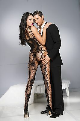 Black Rose Lace Fishnet Cut Out Sides Strapy Body Stocking Sexy Lingerie P1027