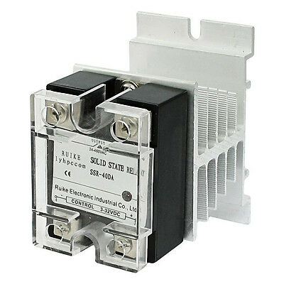 lyhpcom DC 3-32V to AC 24-480V 40A Single Phase SSR-40DA Solid State Relay F6