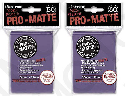 100 2pk ULTRA PRO Pro-Matte Deck Protector Card Sleeves Magic Standard Purple