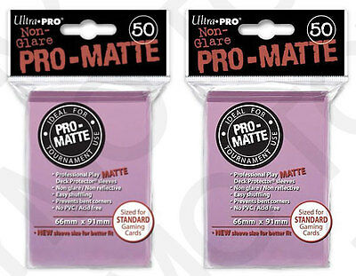 100 2pk ULTRA PRO Pro-Matte Deck Protector Card Sleeves Magic Standard Pink