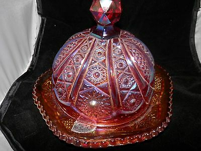 Vintage Heirloom Sunset Carnival Indiana Glass Round Butter Dish
