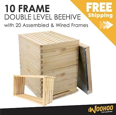 10 Frame Double Level  Complete Beehive with 20 Assembled & Wired Frames