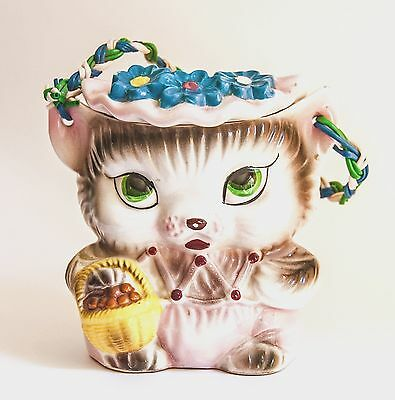 Vintage Retro Kitsch Kitty Biscuit Barrel - Stunner