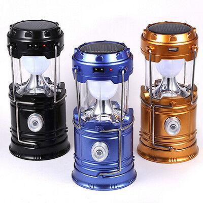 Solar Power Camping LED Lantern Rechargeable Hand Portable Waterproof Hike Lamp