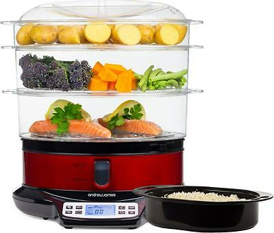 Andrew James Food Steamer - Large Electric 3 Tiers for Baby Food & Rice Etc