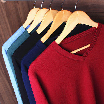 Winter New Mens High quality V-neck Casual 100% woolen cashmere Sweater pullover