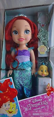 2016 Disney Ariel Little Mermaid Toddler Doll Hair Brush Tiara Necklace Flounder