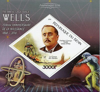 Benin 2016 MNH HG Wells 150th Anniv 1v S/S War of Worlds Writers Stamps