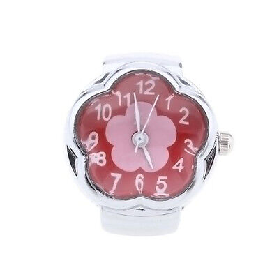 Alloy Quartz Ring Watch Silver Dial Red Flower Women L3