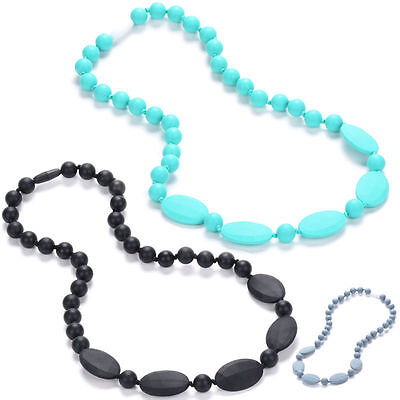 Silicone Teething Nursing Necklace Breastfeeding Chewable Jewelry for Moms&Baby