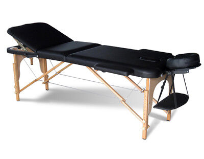 Black Portable Massage Table Bed Beauty Therapy Couch 3 Section Wood + Cover Bag