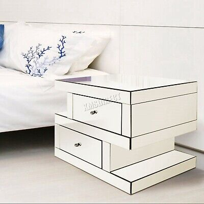 FoxHunter Mirrored Furniture Clear Glass Bedside Cabinet Table Unit Bedroom MT04